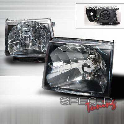 Headlights & Tail Lights - Headlights - Spec-D - Toyota Tacoma Spec-D Crystal Housing Headlights - Black - LH-TAC97JM-KS