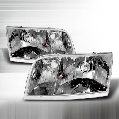 Headlights & Tail Lights - Headlights - Spec-D - Ford Crown Victoria Spec-D Crystal Housing Headlights - Chrome - LH-VIC98-APC