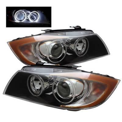 Headlights & Tail Lights - Headlights - Spyder - BMW 3 Series 4DR Spyder CCFL Halo Projector Headlights - Black - PRO-CL-BE9005-AM-BK