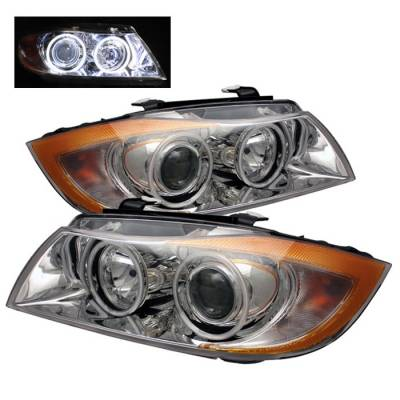 Headlights & Tail Lights - Headlights - Spyder - BMW 3 Series 4DR Spyder CCFL Halo Projector Headlights - Chrome - PRO-CL-BE9005-AM-C