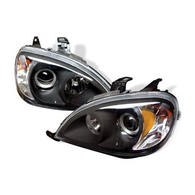 Headlights & Tail Lights - Headlights - Spyder - Mercedes-Benz ML Spyder Amber Projector Headlights - Black - PRO-CL-MBW16398-AM-BK