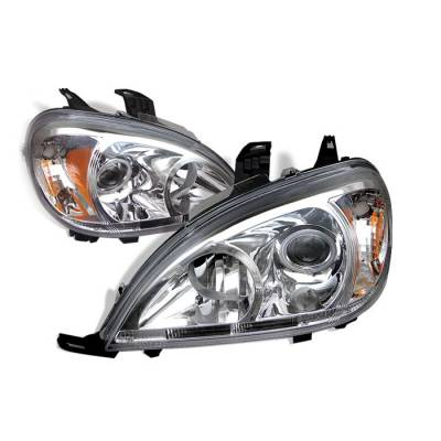 Headlights & Tail Lights - Headlights - Spyder - Mercedes-Benz ML Spyder Amber Projector Headlights - Chrome - PRO-CL-MBW16398-AM-C
