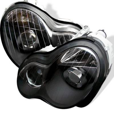 Headlights & Tail Lights - Headlights - Spyder - Mercedes-Benz C Class Spyder Projector Headlights - Black - PRO-CL-MW20301-BK