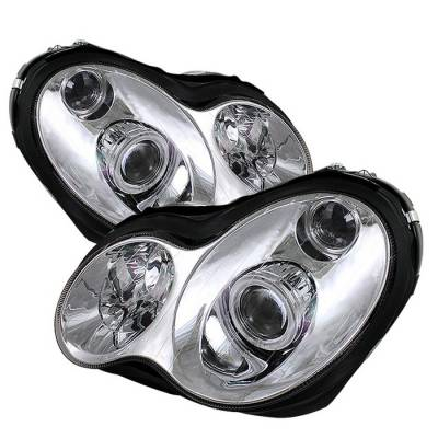 Headlights & Tail Lights - Headlights - Spyder - Mercedes-Benz C Class Spyder Halo Projector Headlights - Chrome - PRO-CL-MW20301-HL-C