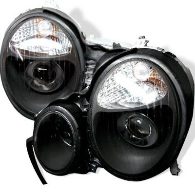 Headlights & Tail Lights - Headlights - Spyder - Mercedes-Benz E Class Spyder Projector Headlights - Black - PRO-CL-MW21095-BK