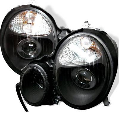 Headlights & Tail Lights - Headlights - Spyder - Mercedes-Benz E Class Spyder Projector Headlights - Black - PRO-CL-MW21099-BK