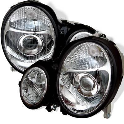 Headlights & Tail Lights - Headlights - Spyder - Mercedes-Benz E Class Spyder Projector Headlights - Chrome - PRO-CL-MW21099-C