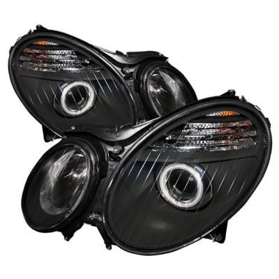 Headlights & Tail Lights - Headlights - Spyder - Mercedes-Benz E Class Spyder Projector Headlights - Black - PRO-CL-MW21107-BK