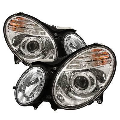 Headlights & Tail Lights - Headlights - Spyder - Mercedes-Benz E Class Spyder Projector Headlights - Chrome - PRO-CL-MW21107-C