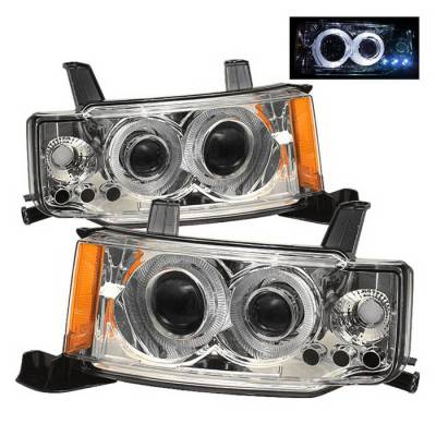 Headlights & Tail Lights - Headlights - Spyder Auto - Scion xB Spyder Halo Projector Headlights - Chrome - PRO-ON-TSXB03-HL-C