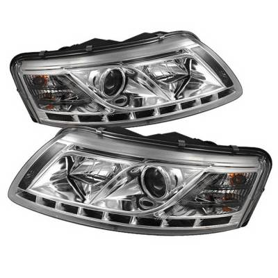 Headlights & Tail Lights - Headlights - Spyder Auto - Audi A6 Spyder Daytime Running LED Projector Headlights - Chrome - PRO-YD-ADA605-HID-DRL-C