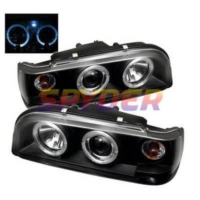 Headlights & Tail Lights - Headlights - Spyder Auto - Volvo 850 Spyder Halo Projector Headlights - Black - PRO-YD-VO85092-HL-BK