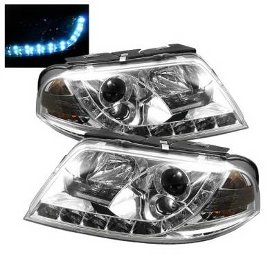 Headlights & Tail Lights - Headlights - Spyder Auto - Volkswagen Passat Spyder Daytime Running LED Projector Headlights - Chrome - PRO-YD-VP01-DRL-C