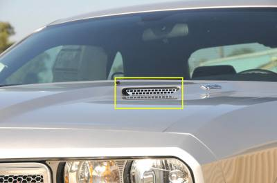 Challenger - Hood Scoops - T-Rex - Dodge Challenger T-Rex T1 Stainless Hood Scoop - Style 1 Factory Style - 2PC - 11416