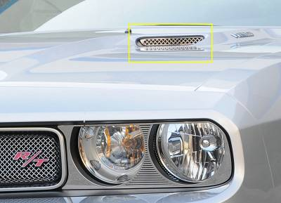 Challenger - Hood Scoops - T-Rex - Dodge Challenger T-Rex T1 Stainless Hood Scoop - Style 2 Mesh Style - 2PC - 11417