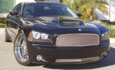 Charger - Hood Scoops - T-Rex - Dodge Charger T-Rex T1 Stainless Hood Scoop - Mesh Style - 11475
