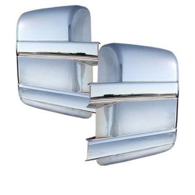 F250 - Mirrors - Spyder - Ford Superduty Spyder Mirror Cover without Signal hole - Chrome - CA-MC-FF25008-NS