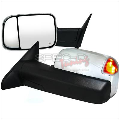 Ram - Mirrors - Spec-D - Dodge Ram Spec-D Heated Towing Mirrors Power - Chrome - RMX-RAM1025CRH-P-FS
