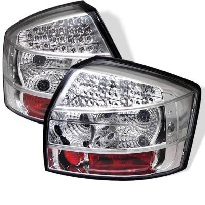 Headlights & Tail Lights - Tail Lights - Spyder - Audi A4 Spyder LED Taillights - Chrome - 111-AA402-LED-C