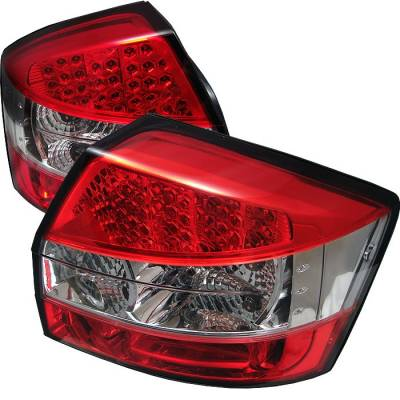 Headlights & Tail Lights - Tail Lights - Spyder - Audi A4 Spyder LED Taillights - Red Clear - 111-AA402-LED-RC