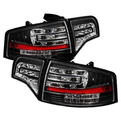 Headlights & Tail Lights - Tail Lights - Spyder - Audi A4 Spyder LED Taillights - Black - 111-AA406-G2-LED-BK