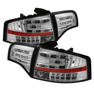 Headlights & Tail Lights - Tail Lights - Spyder - Audi A4 Spyder LED Taillights - Chrome - 111-AA406-G2-LED-C