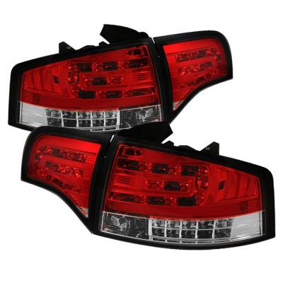 Headlights & Tail Lights - Tail Lights - Spyder - Audi A4 Spyder LED Taillights - Red Clear - 111-AA406-G2-LED-RC