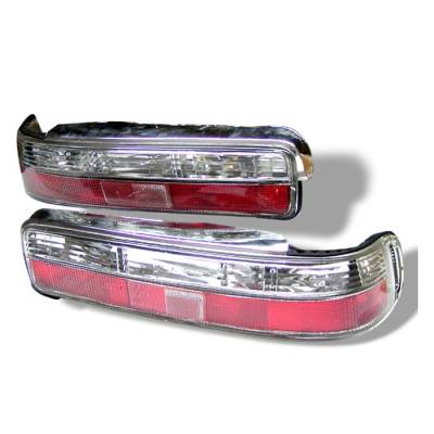 Headlights & Tail Lights - Tail Lights - Spyder - Acura Integra 2DR Spyder Euro Style Taillights - Red Clear - 111-AI90-RC