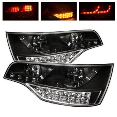 Headlights & Tail Lights - Tail Lights - Spyder - Audi Q7 Spyder LED Taillights - Black - 111-AQ707-LED-BK