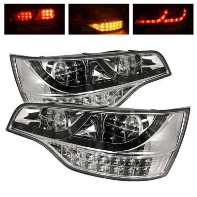 Spyder. - Audi Q7 Spyder LED Taillights - Chrome - 111-AQ707-LED-C