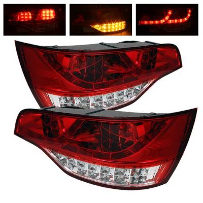 Headlights & Tail Lights - Tail Lights - Spyder - Audi Q7 Spyder LED Taillights - Red Clear - 111-AQ707-LED-RC