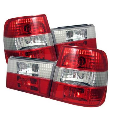 Headlights & Tail Lights - Tail Lights - Spyder - BMW 5 Series Spyder Euro Style Taillights - Red Clear - 111-BE3488-RC