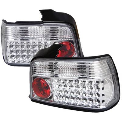 Headlights & Tail Lights - Tail Lights - Spyder - BMW 3 Series 4DR Spyder LED Taillights - Chrome - 111-BE3692-4D-LED-C