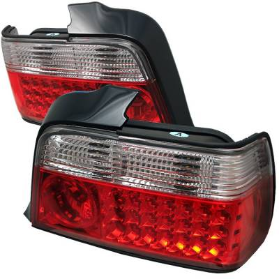 Headlights & Tail Lights - Tail Lights - Spyder - BMW 3 Series 4DR Spyder LED Taillights - Red Clear - 111-BE3692-4D-LED-RC