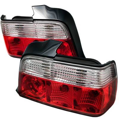 Headlights & Tail Lights - Tail Lights - Spyder - BMW 3 Series 4DR Spyder Crystal Taillights - Red Clear - 111-BE3692-4D-RC