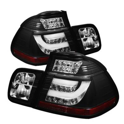 Headlights & Tail Lights - Tail Lights - Spyder - BMW 3 Series 4DR Spyder Light Bar Style LED Taillights - Black - 111-BE4602-4D-LBLED-BK