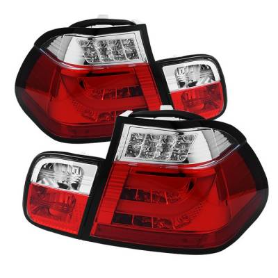 Headlights & Tail Lights - Tail Lights - Spyder - BMW 3 Series 4DR Spyder Light Bar Style LED Taillights - Red Clear - 111-BE4602-4D-LBLED-RC