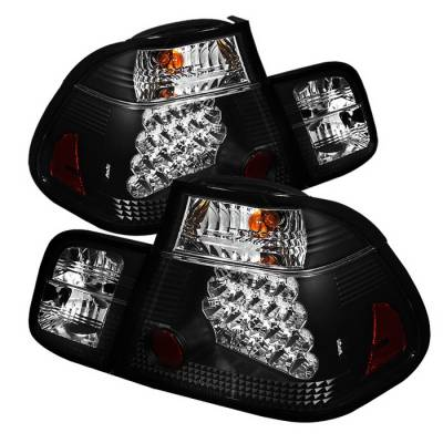 Headlights & Tail Lights - Tail Lights - Spyder Auto - BMW 3 Series 4DR Spyder LED Taillights - Black - 111-BE4602-4D-LBLED-SM