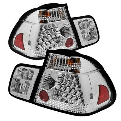 Headlights & Tail Lights - Tail Lights - Spyder - BMW 3 Series 4DR Spyder LED Taillights - Chrome - 111-BE4602-4D-LED-C
