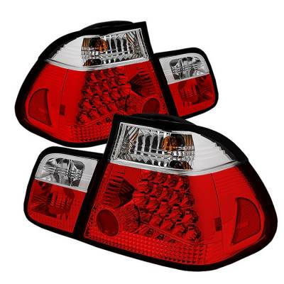 Headlights & Tail Lights - Tail Lights - Spyder - BMW 3 Series 4DR Spyder LED Taillights - Red Clear - 111-BE4602-4D-LED-RC
