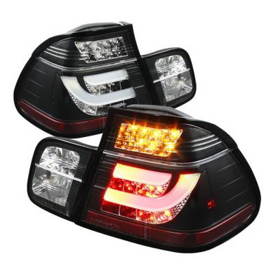 Headlights & Tail Lights - Tail Lights - Spyder Auto - BMW 3 Series 4DR Spyder LED Light Bar Taillights - Black - 111-BE4699-4D-BK