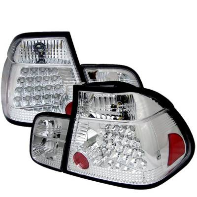 Headlights & Tail Lights - Tail Lights - Spyder - BMW 3 Series 4DR Spyder LED Taillights - Chrome - 111-BE4699-4D-LED-C