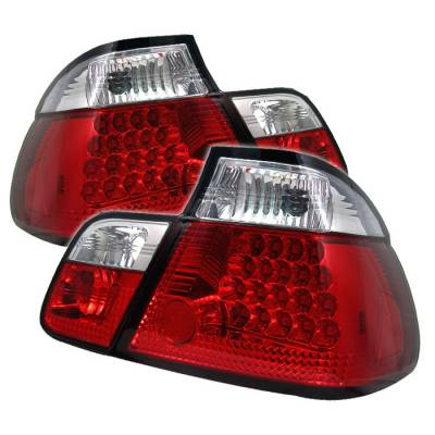 Headlights & Tail Lights - Tail Lights - Spyder - BMW 3 Series 4DR Spyder LED Taillights - Red Clear - 111-BE4699-4D-LED-RC