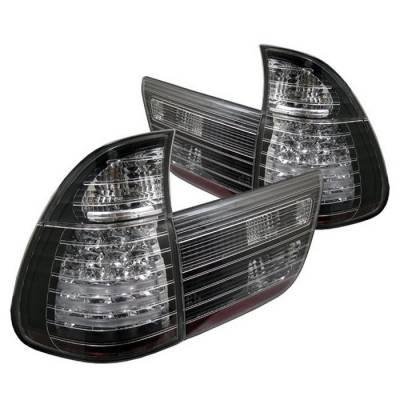 Headlights & Tail Lights - Tail Lights - Spyder - BMW X5 Spyder LED Taillights - Black - 4PC - 111-BE5300-LED-BK