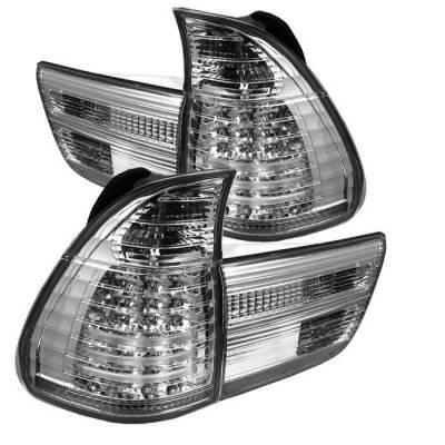 Headlights & Tail Lights - Tail Lights - Spyder - BMW X5 Spyder LED Taillights - Chrome - 4PC - 111-BE5300-LED-C