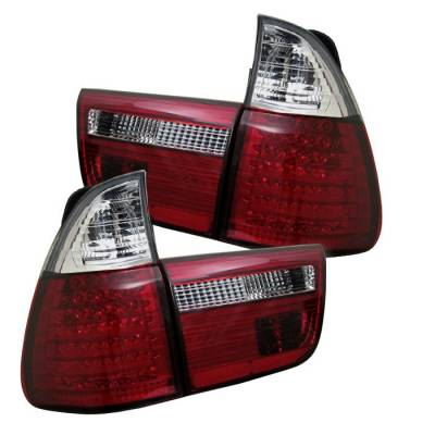 Headlights & Tail Lights - Tail Lights - Spyder - BMW X5 Spyder LED Taillights - Red Clear - 4PC - 111-BE5300-LED-RC