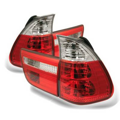 Headlights & Tail Lights - Tail Lights - Spyder Auto - BMW 5 Series Spyder Taillights - Red Clear - 111-BE5300-LED-RS