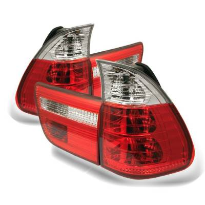 Headlights & Tail Lights - Tail Lights - Spyder - BMW X5 Spyder Euro Style Taillights - Red Clear - 4PC - 111-BE5300-RC