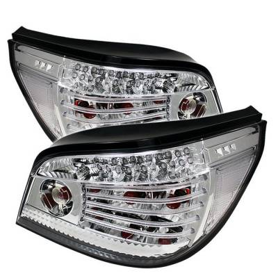 Headlights & Tail Lights - Tail Lights - Spyder - BMW 5 Series Spyder LED Taillights - Chrome - 111-BE6004-LED-C
