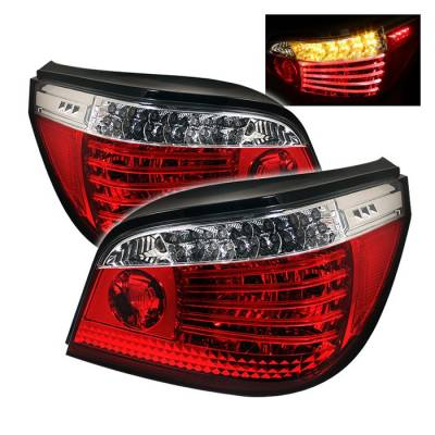 Headlights & Tail Lights - Tail Lights - Spyder - BMW 5 Series Spyder LED Taillights - Red Clear - 111-BE6004-LED-RC